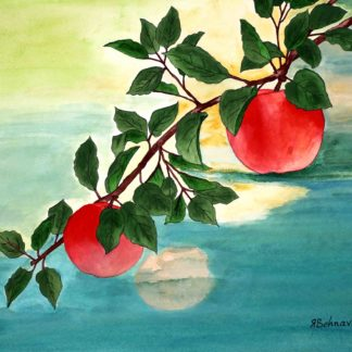 Blazing star gallery,Behnaz Rezwani, Apples on tree in watercolor