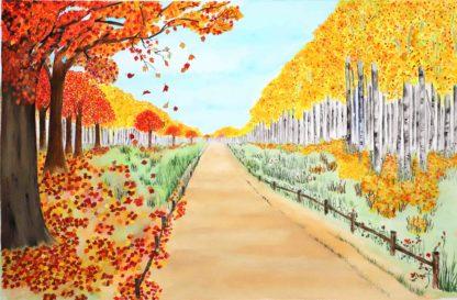 Behnavaz R. watercolor painting, Fall painting