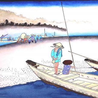 Ando Hiroshige Watercolor , mitsuke