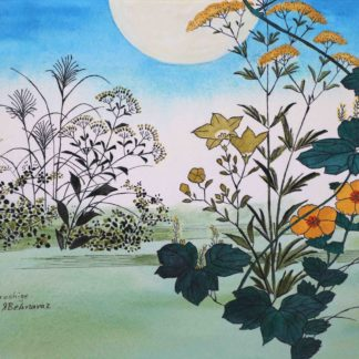 hiroshige, moon and flower in watercolor