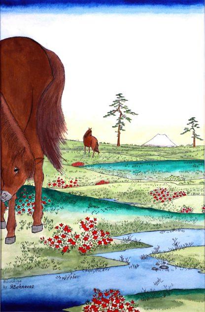 Ando hiroshige , koganehara in watercolor