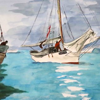 winslow homer watercolor , fishing boats
