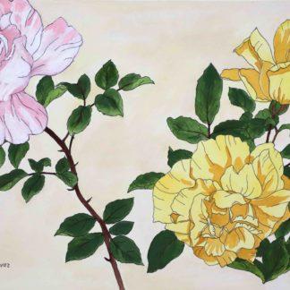 tanigami konan, roses in watercolor