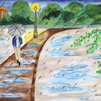 Behnaz Rezwani, watercolor painting, Rainy day
