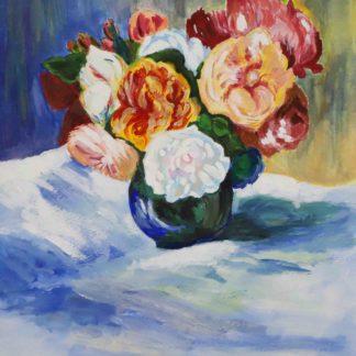 Renoir painting , bouquet of roses in watercolor