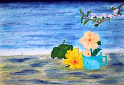 Behnavaz R. watercolor painting, Spring rain
