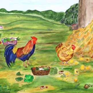 blazing star gallery, Behnaz Rezwani,A rooster with Hen and Chicks in watercolor