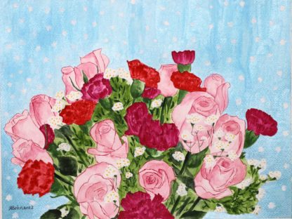 Behnavaz R. watercolor paintings , Bouquet of roses and carnations
