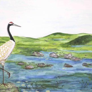 Blazing Star Gallery ,Behnaz Rezwani,watercolor painting, Crane and Stream