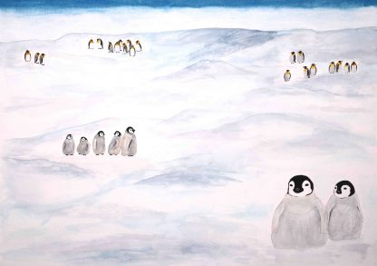 Behnavaz rezvani paintings, penguins and antactica